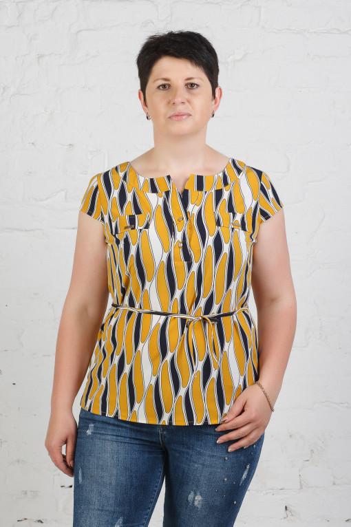 Стильная летняя женская блуза б-448 полоски горчица