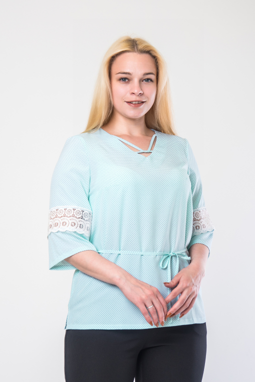 Элегантная женская блуза бирюза б-907
