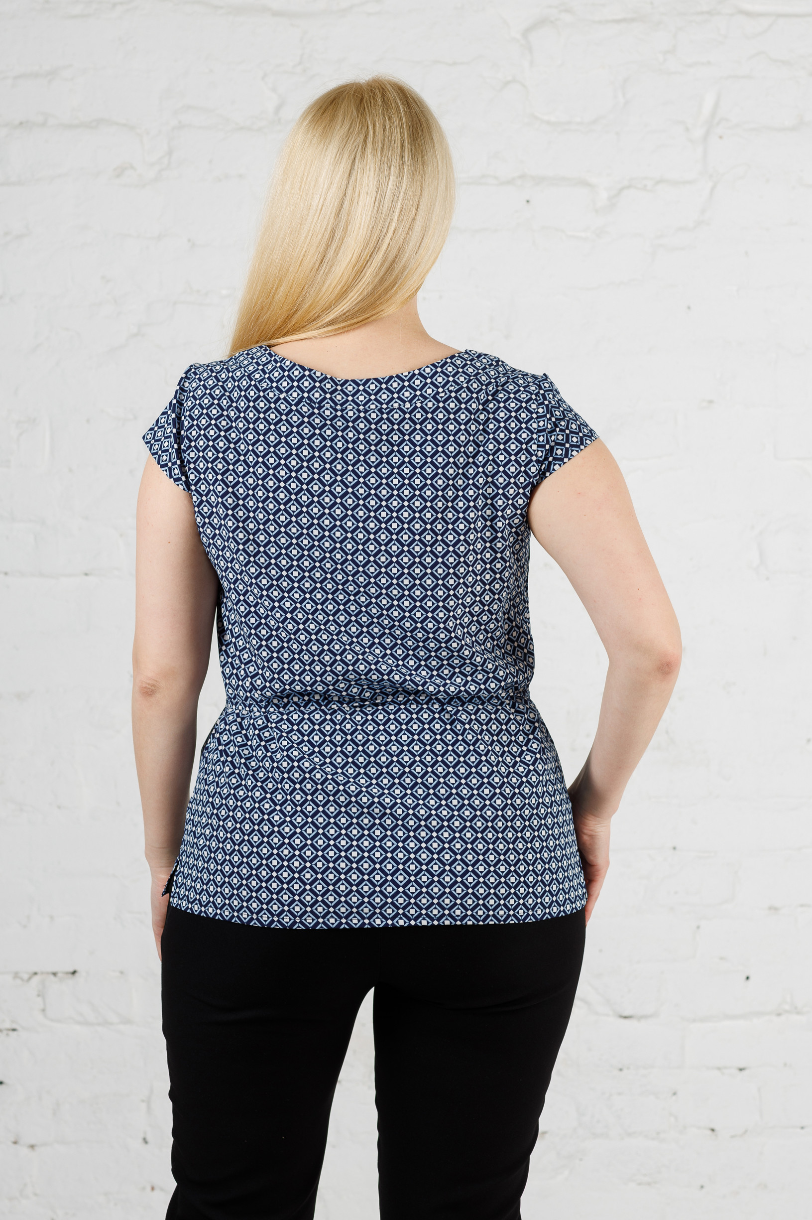 Стильная летняя женская блуза б-448 ромбик