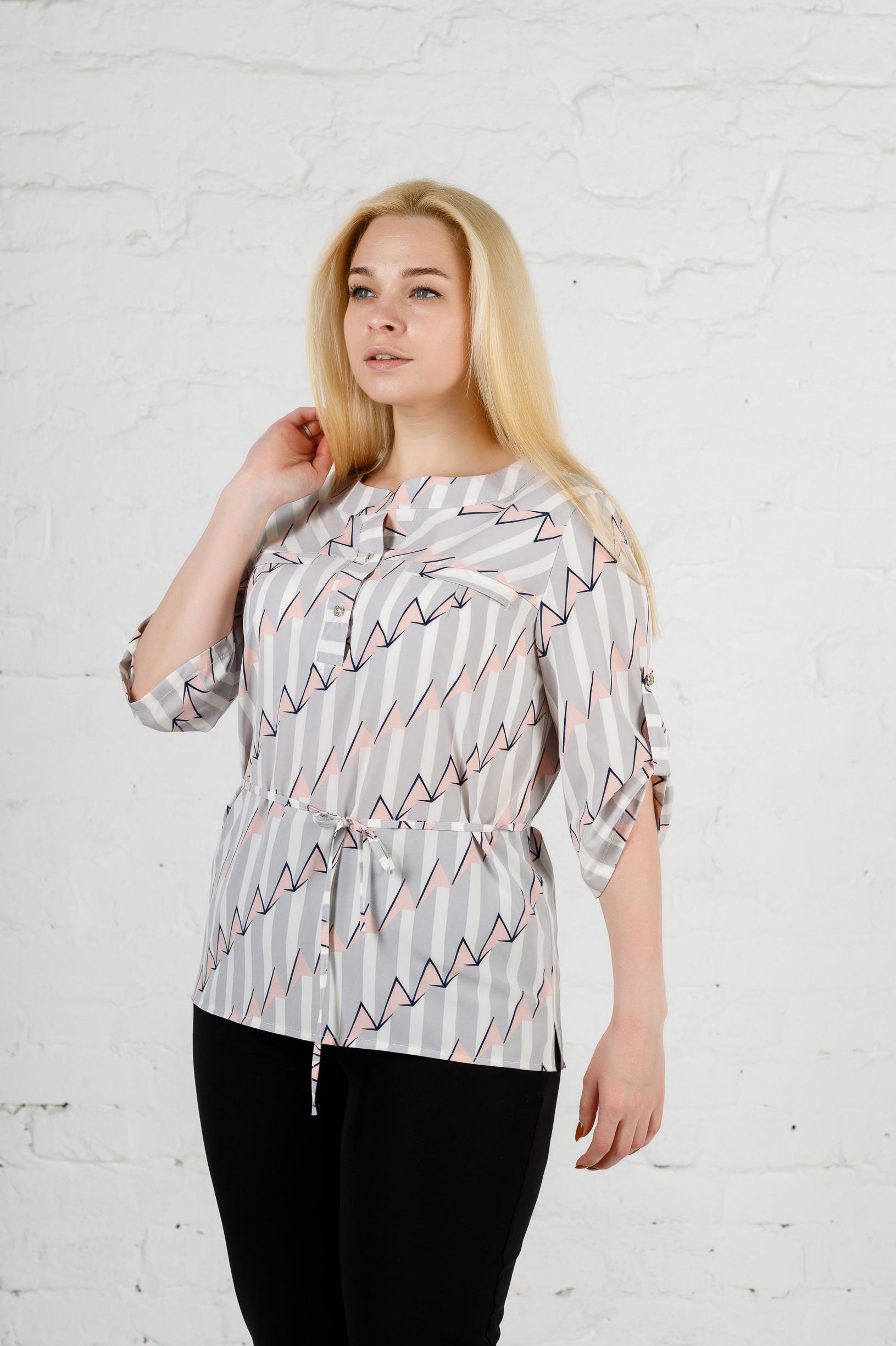 Элегантная женская блуза б-893 серая пудра