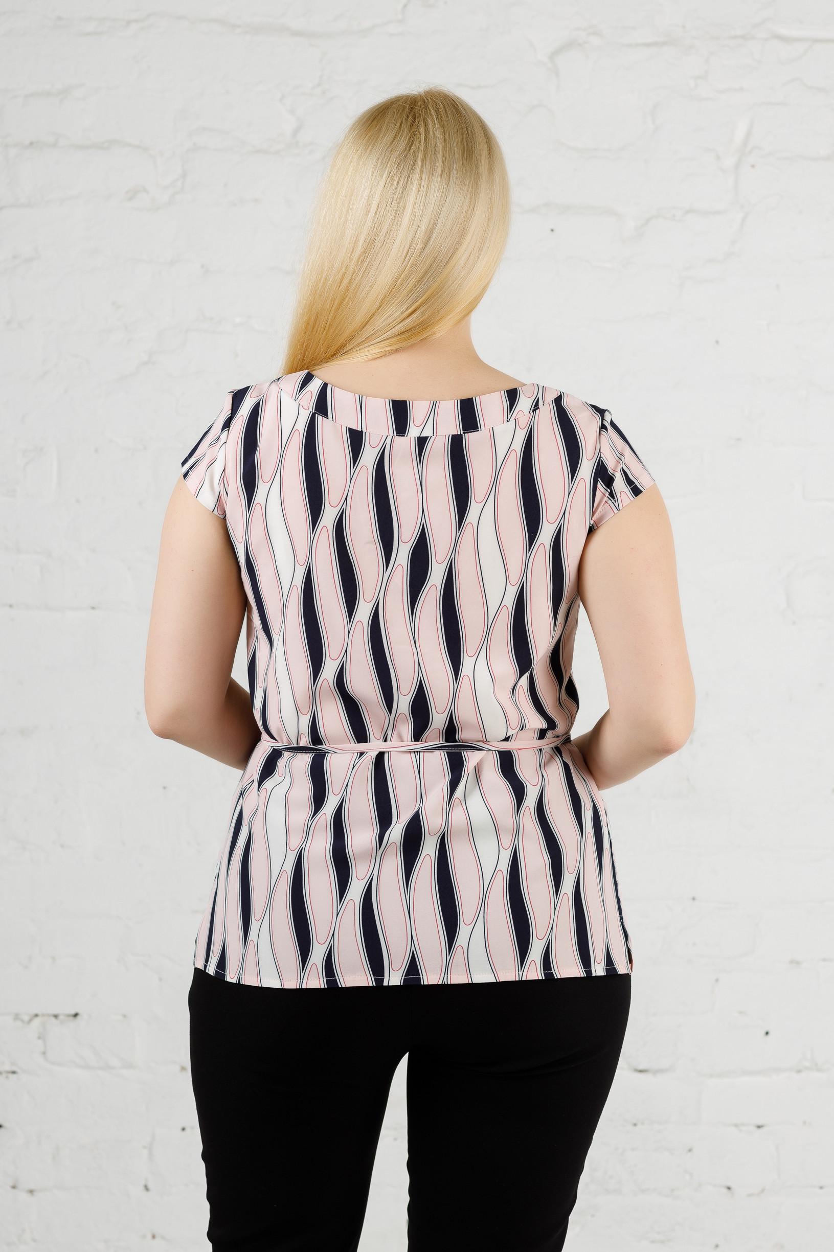 Стильная летняя женская блуза б-448 полоски пудра
