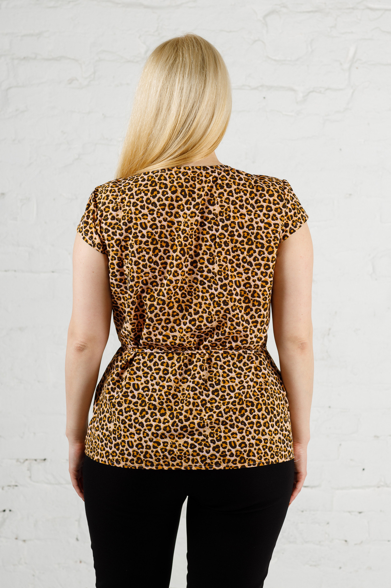Летняя блуза из софта леопард б-665
