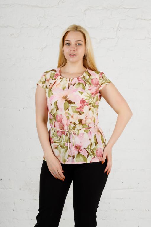 Летняя блуза из софта цветы б-665
