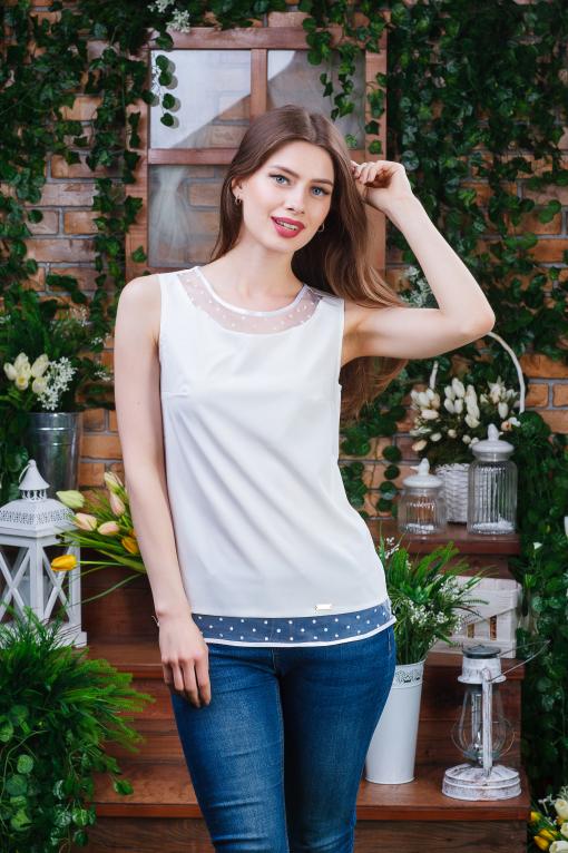 Летняя блуза-майка молочная б-4461