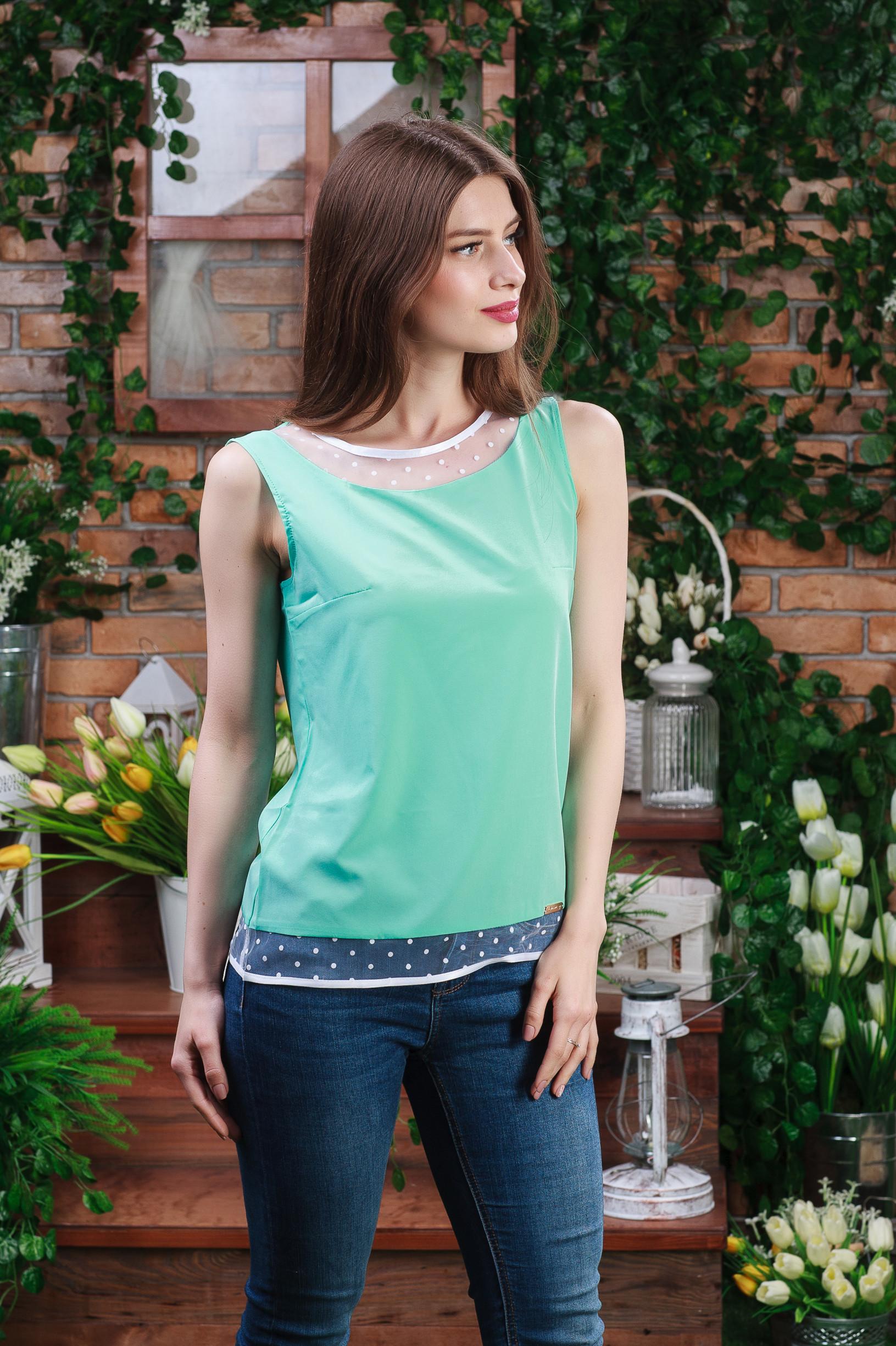 Летняя блуза-майка зелёная б-4462