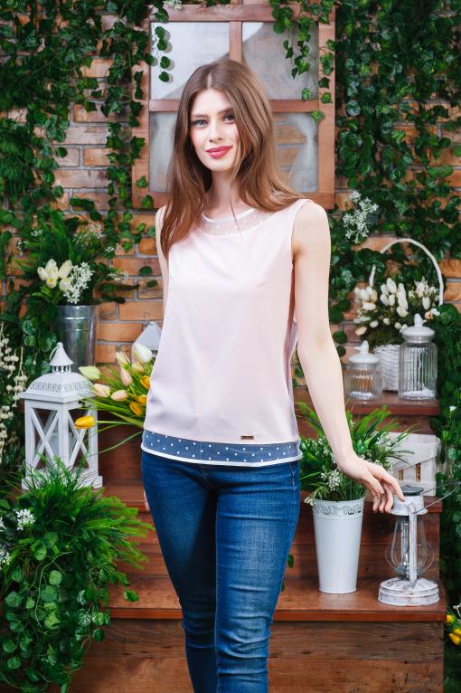 Летняя блуза-майка пудра б-4463
