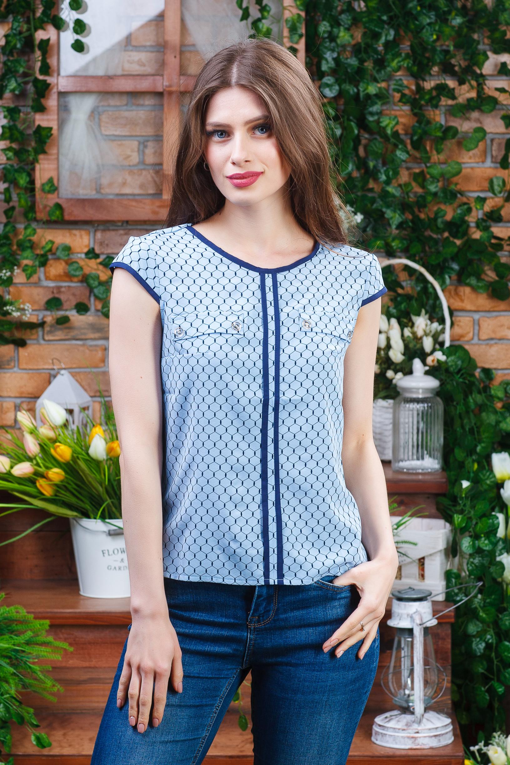 Лёгкая летняя блуза из софта б-4470