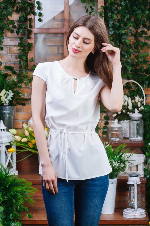 Нежная летняя блуза б-5942 молочная