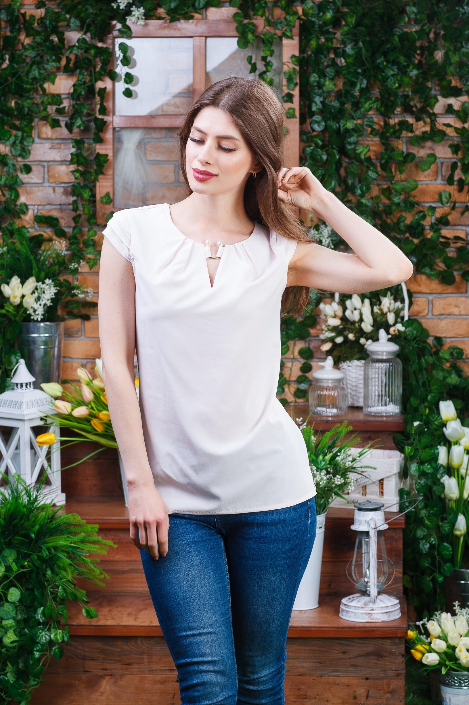 Стильная летняя блуза пудра б-6081