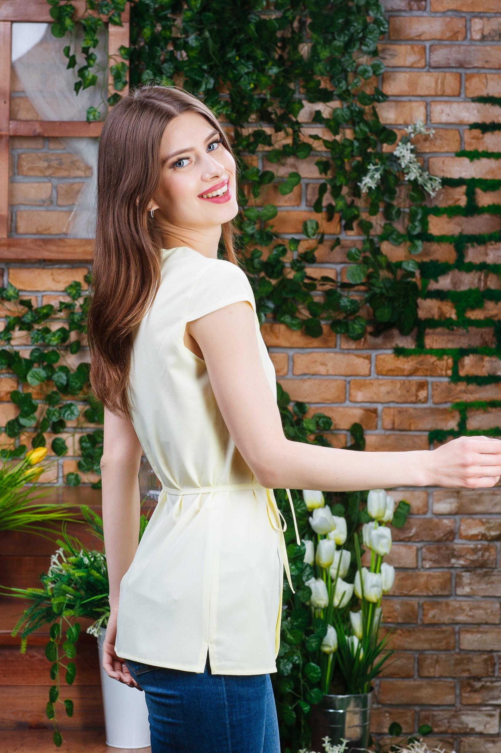 Літня блуза для дівчини жовта б-6271