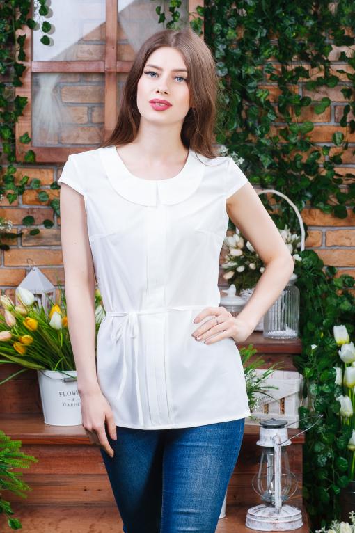 Летняя блуза для девушки молочная б-6272