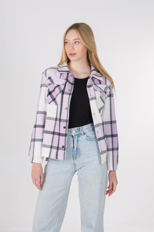 Весенняя рубашка-кардиган фиолетовая