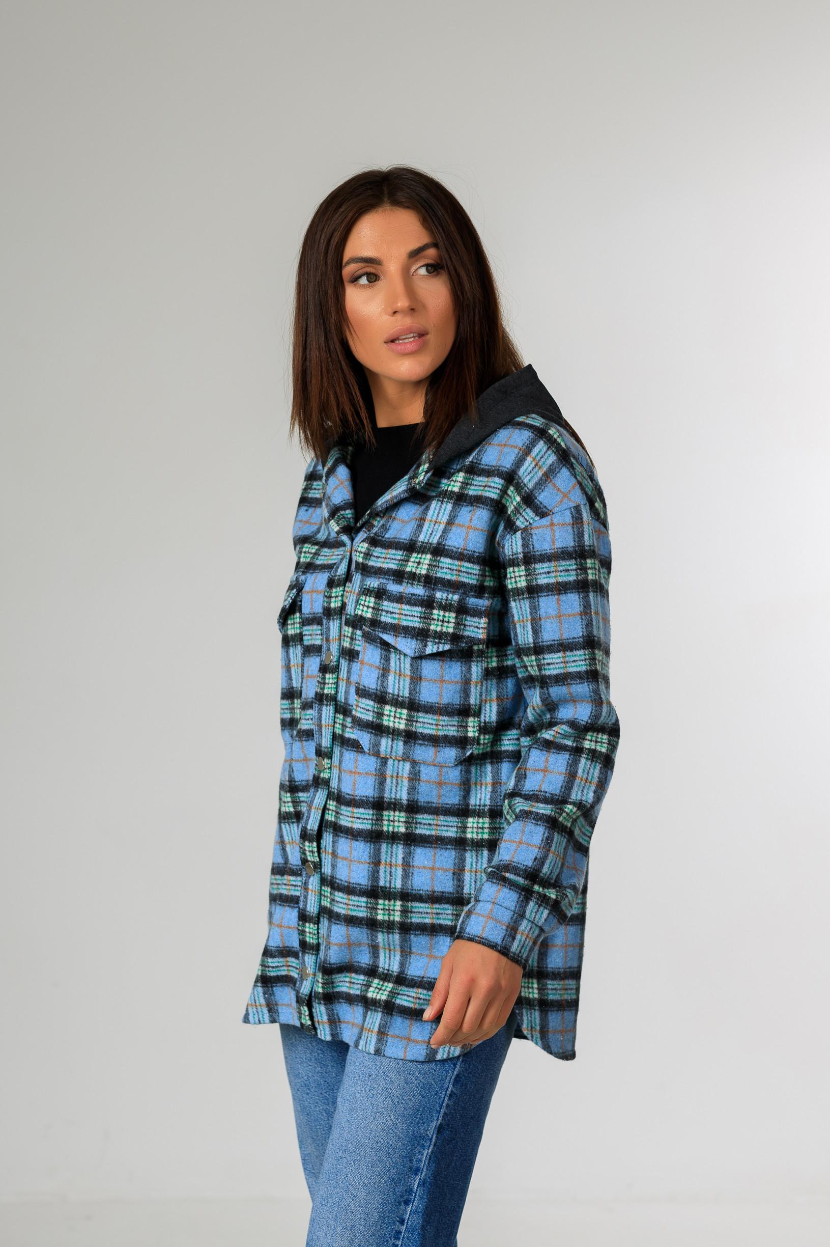 Кардиган-рубаха с капюшоном в клетку Р951 голубой
