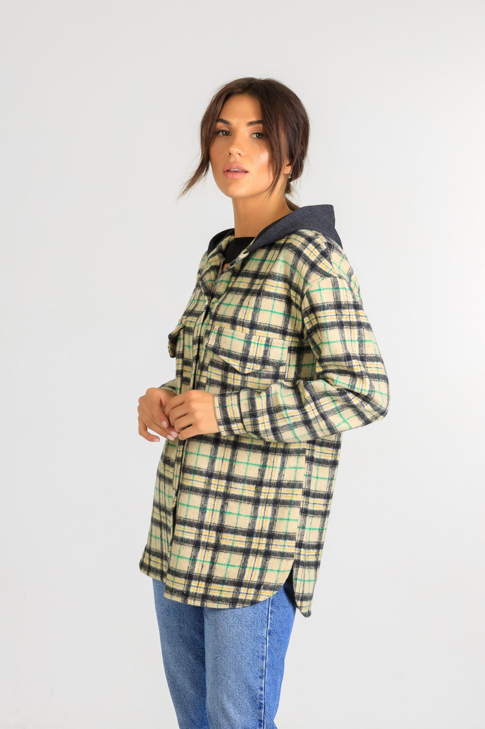 Кардиган-рубаха с капюшоном в клетку Р951 бежевый