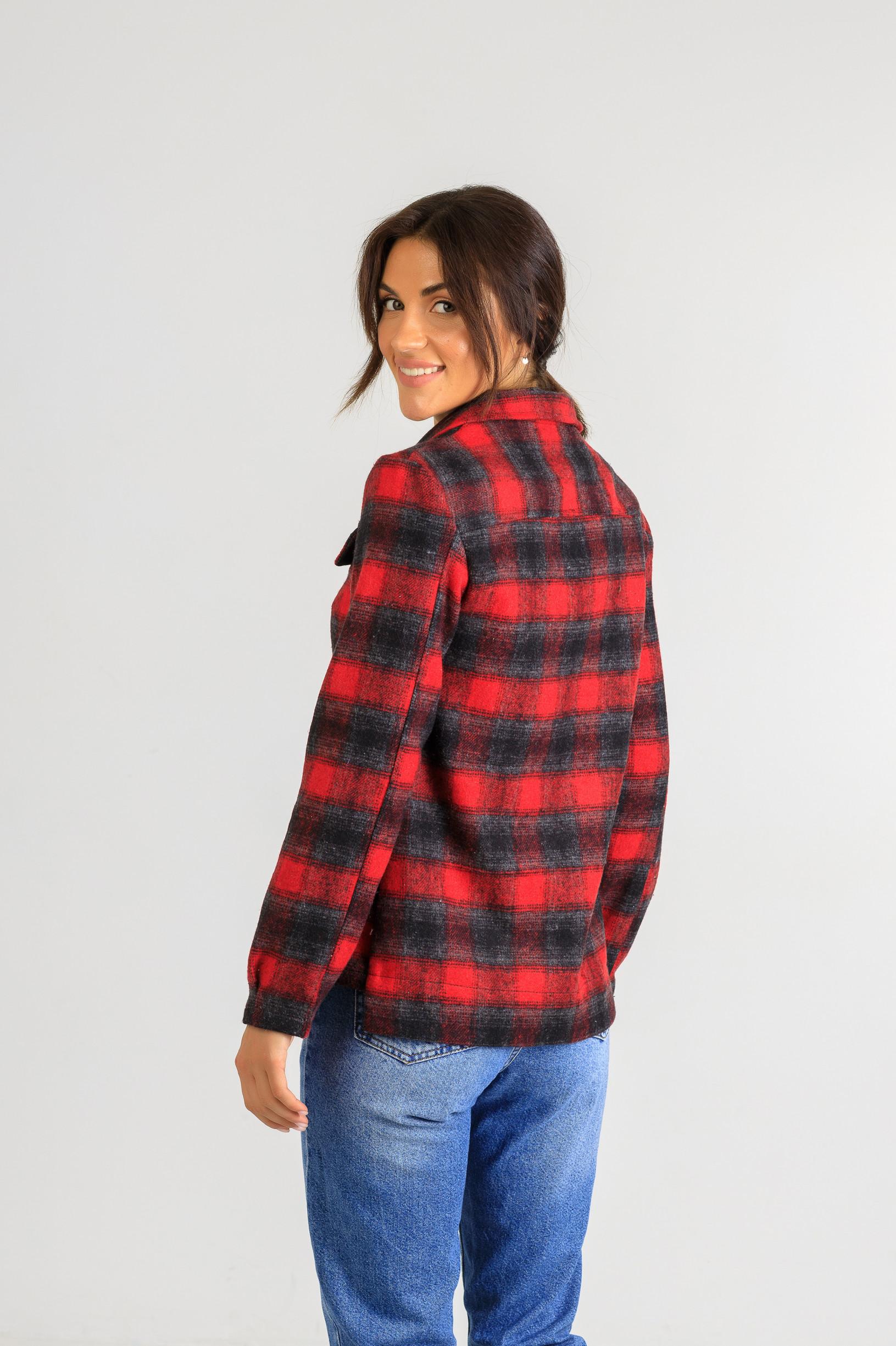 Весенняя рубашка-кардиган р 875 красная