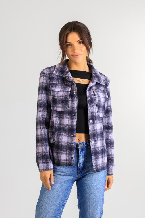 Весенняя рубашка-кардиган р 875 фиолетовая