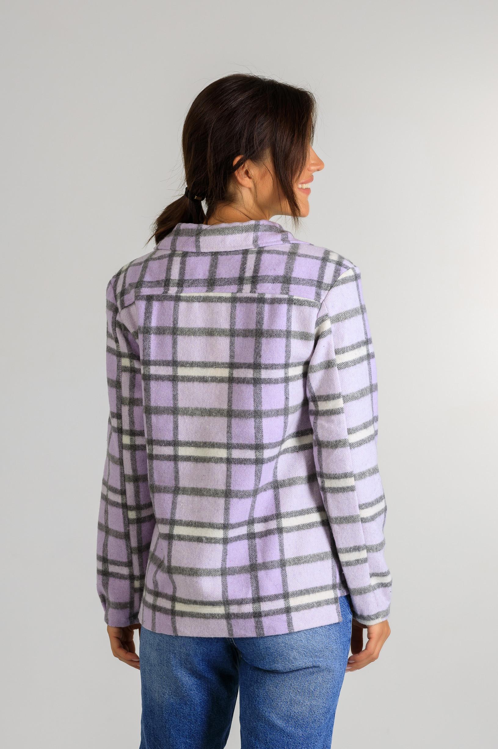 Весенняя рубашка-кардиган р 875 светло фиолетовая