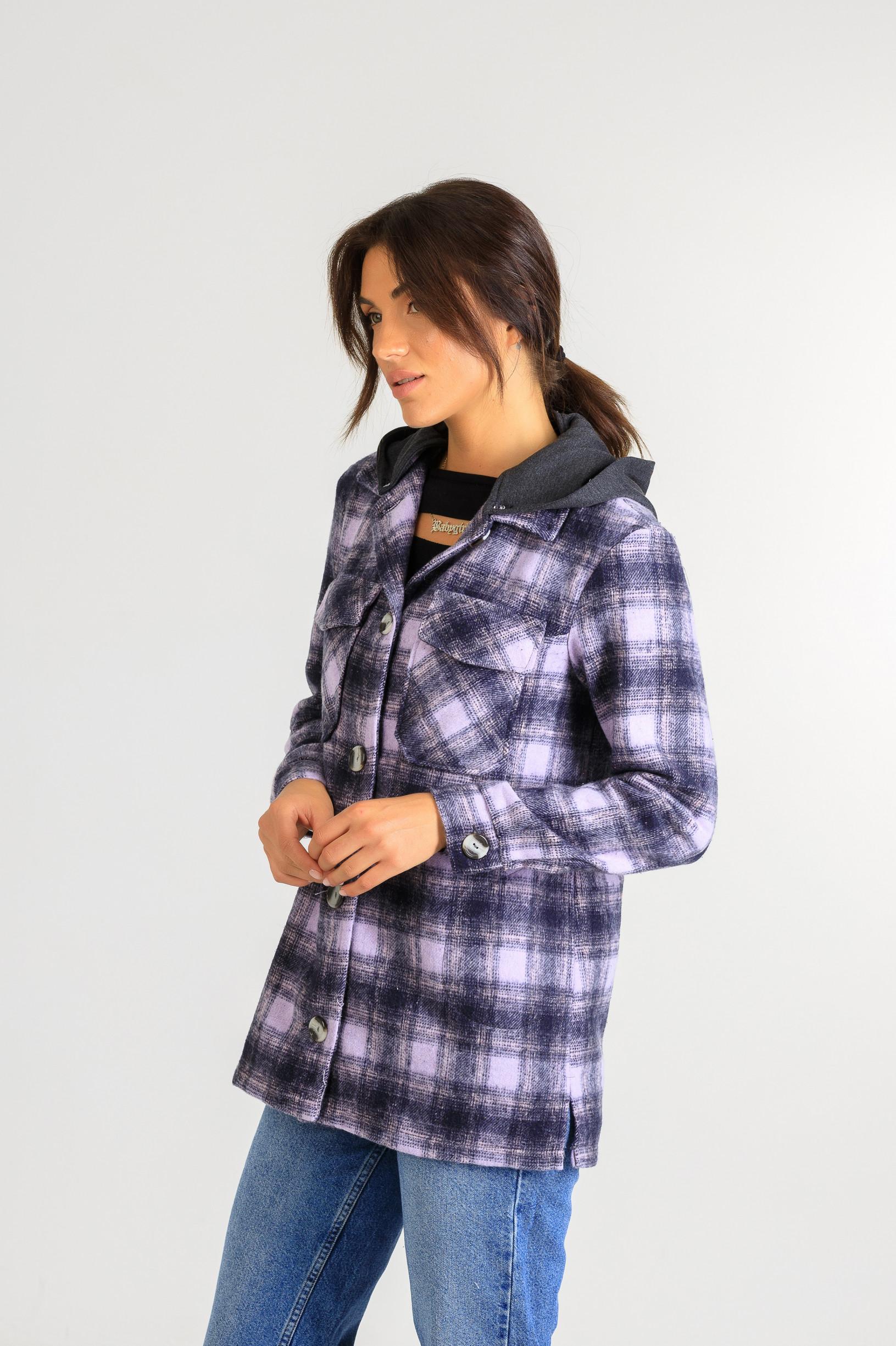 Кардиган-рубаха с капюшоном в клетку Р948 тёмно-фиолетовый