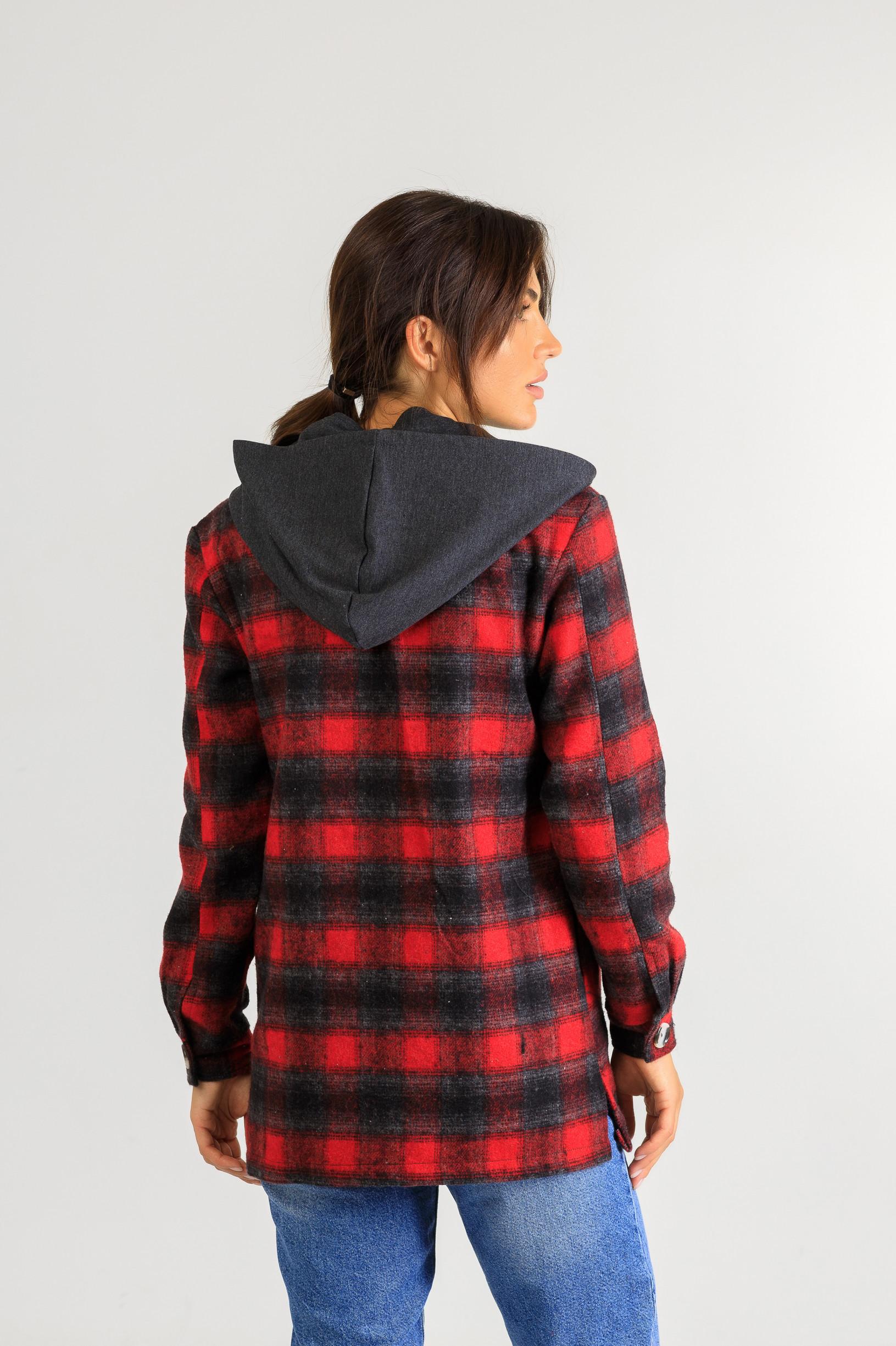 Кардиган-рубаха с капюшоном в клетку Р948 красный