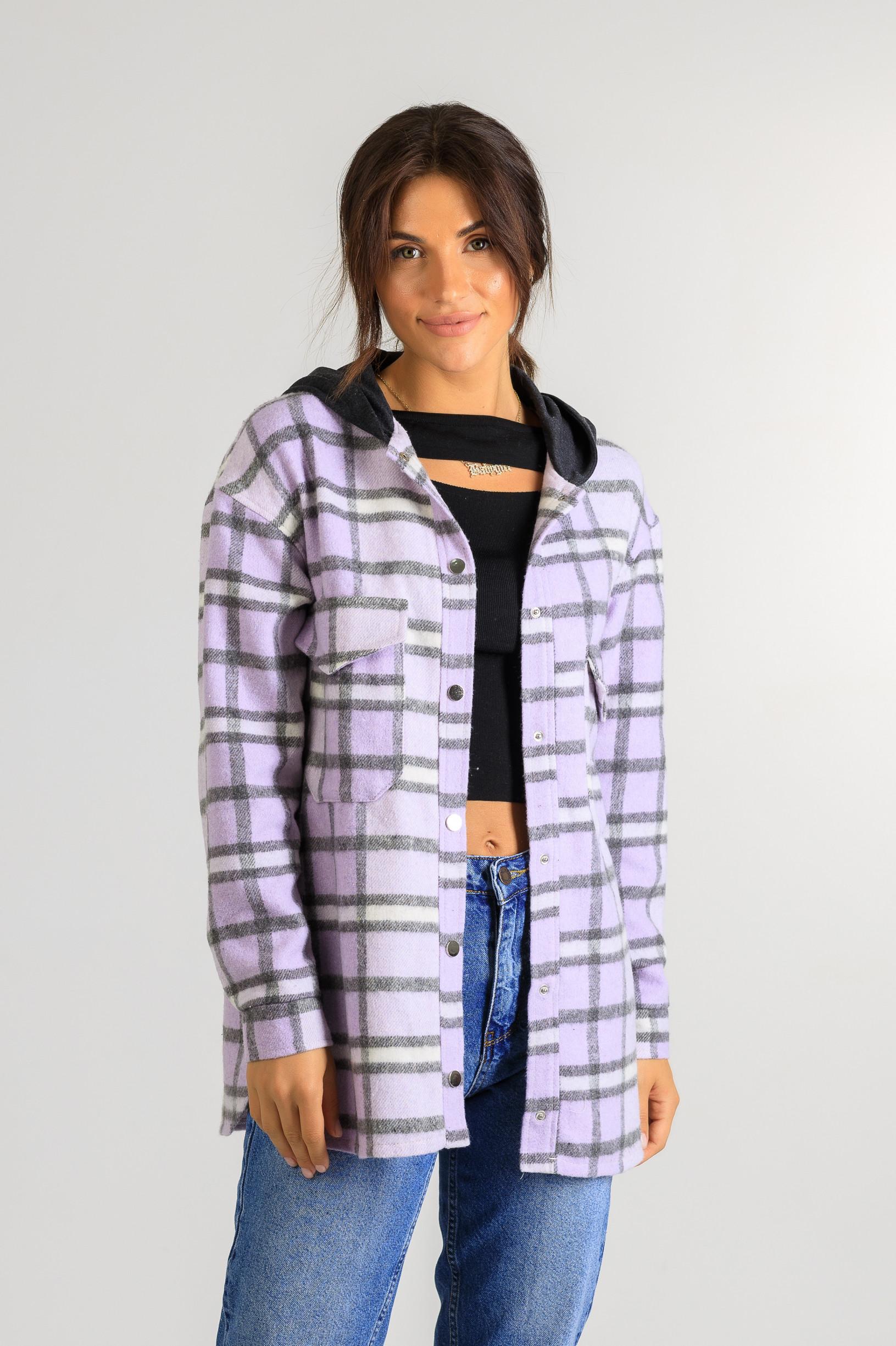 Кардиган-рубаха с капюшоном в клетку Р951 фиолетовый