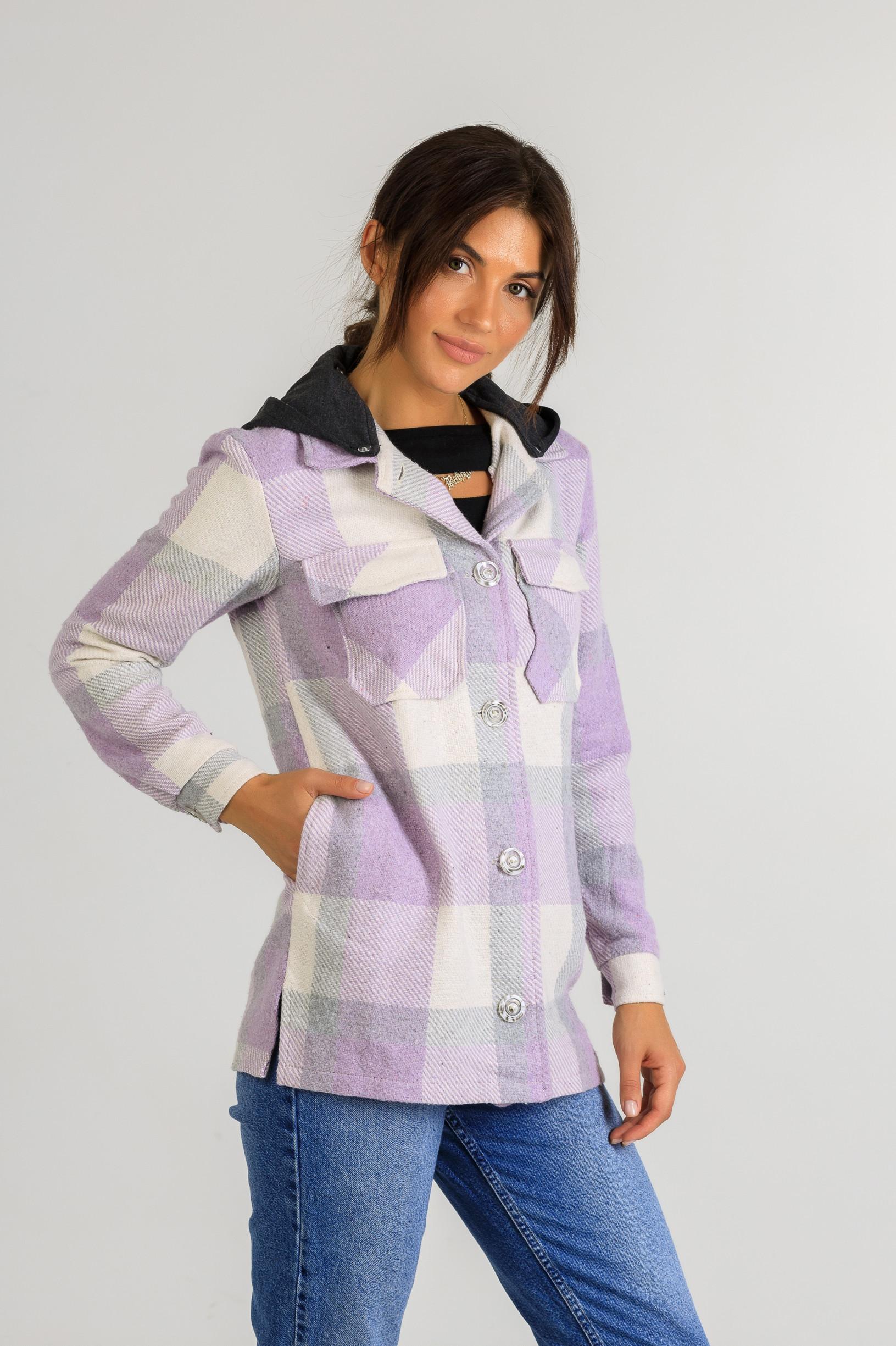 Кардиган-рубаха с капюшоном в клетку Р948 фиолетовый