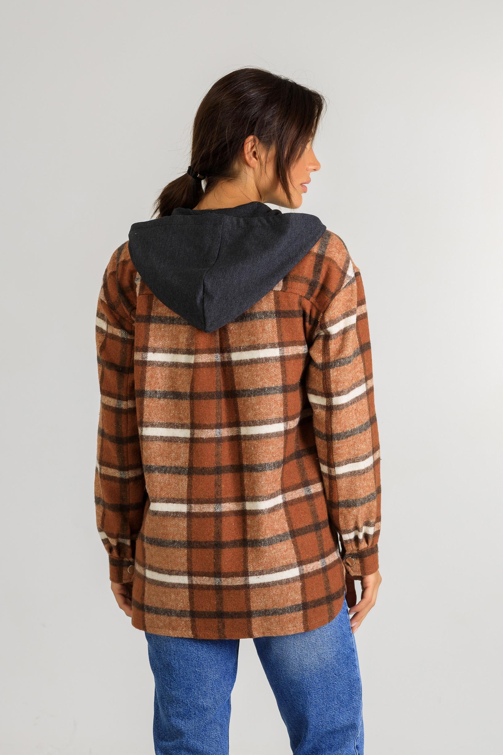 Кардиган-рубаха с капюшоном в клетку Р951 коричневый