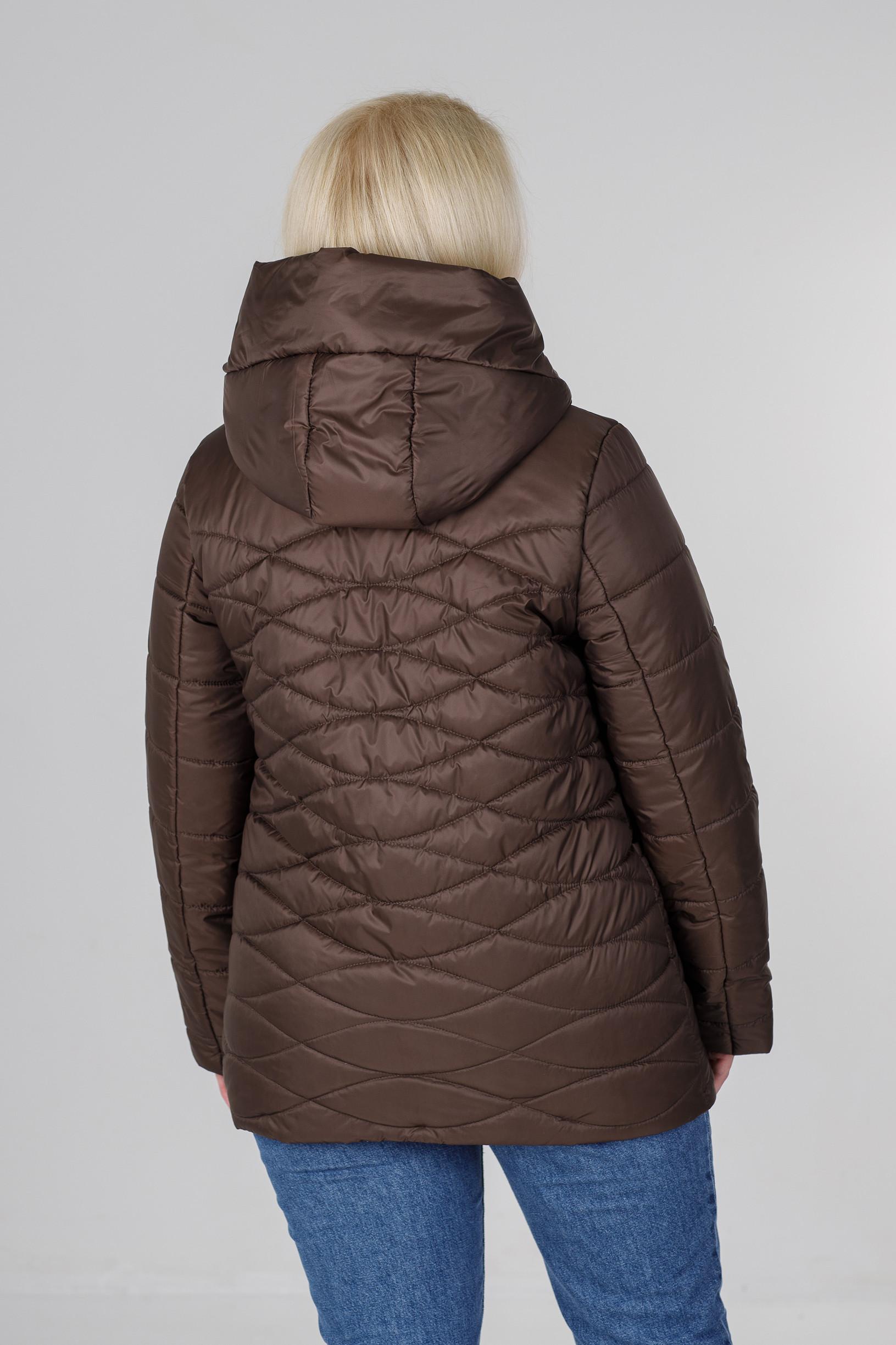Ассиметричная весенняя женская куртка Надин коричневая