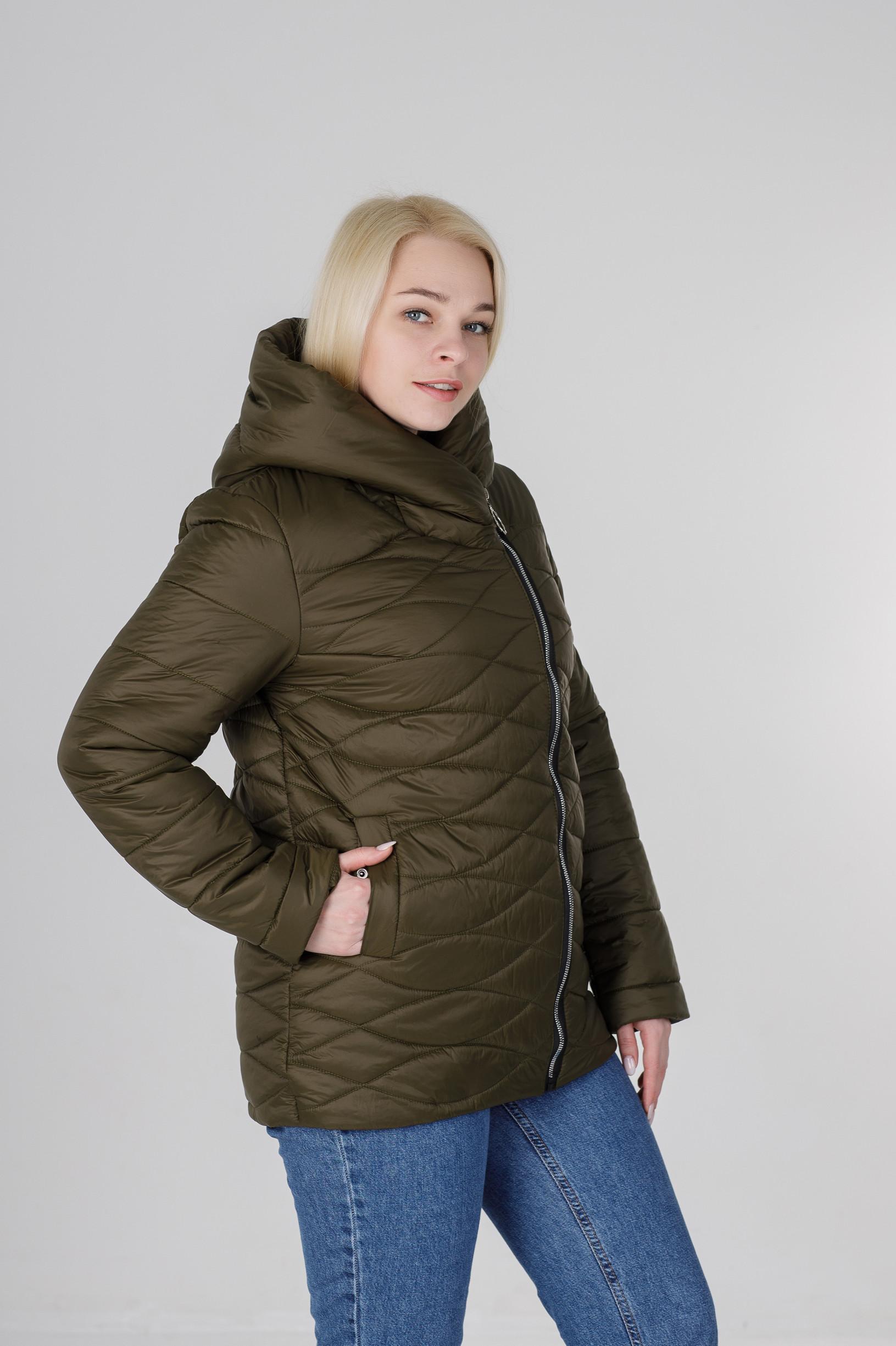 Ассиметричная весенняя женская куртка Надин хаки