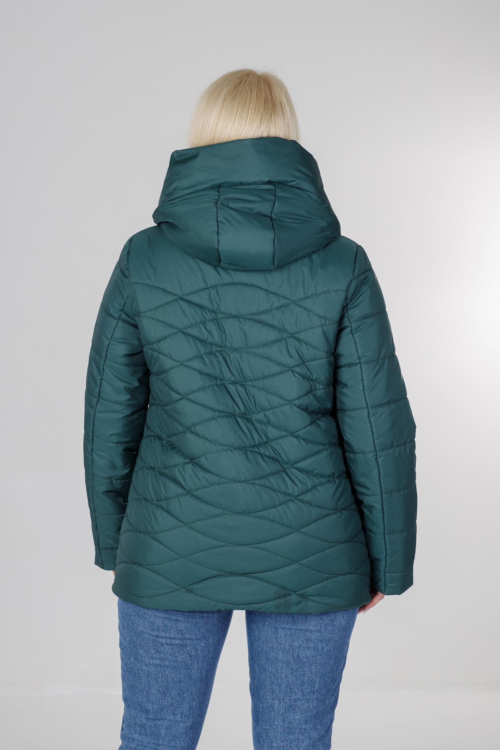 Ассиметричная весенняя женская куртка Надин бирюзовая