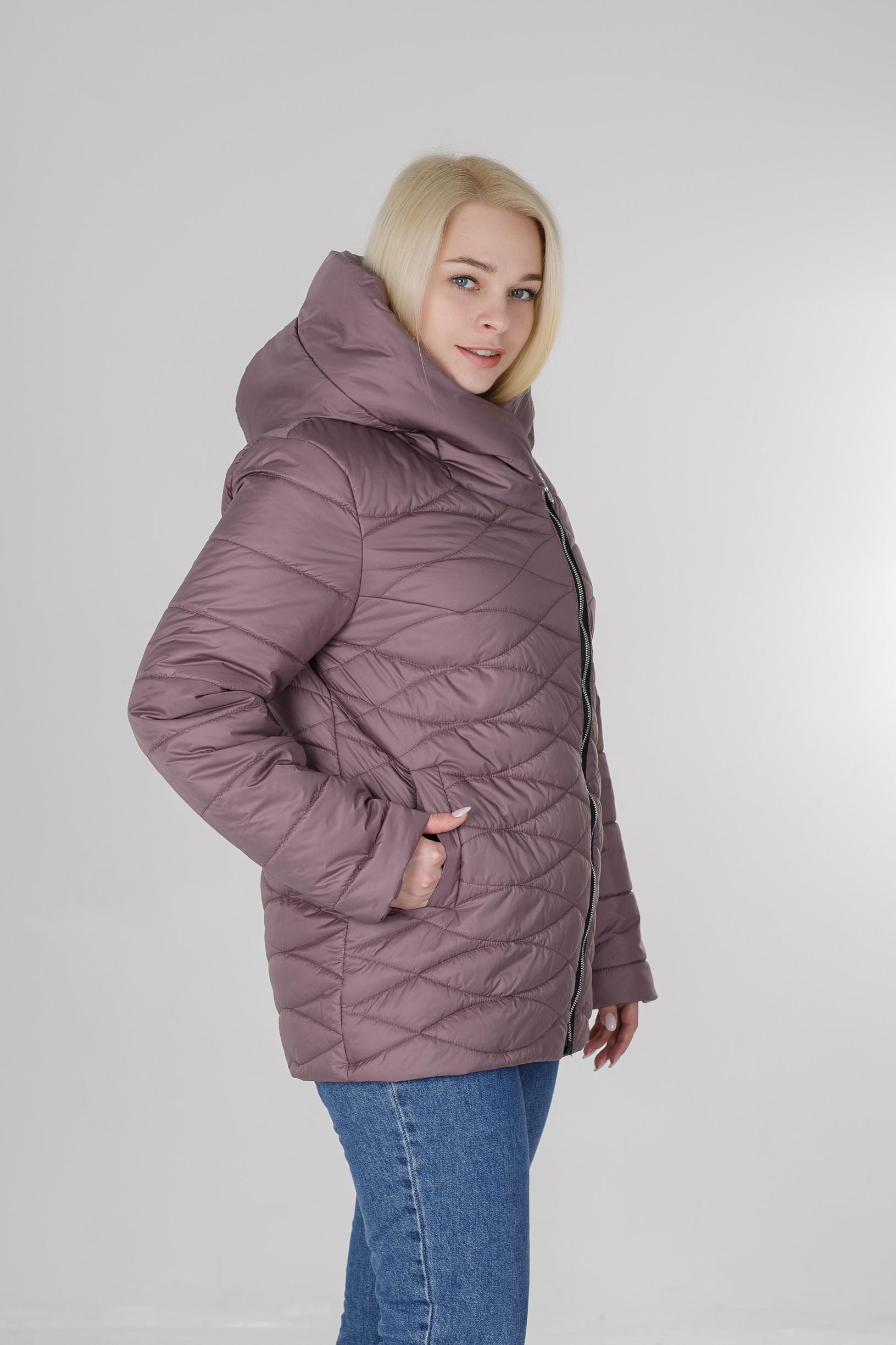 Ассиметричная демисезонная женская куртка Надин розовая