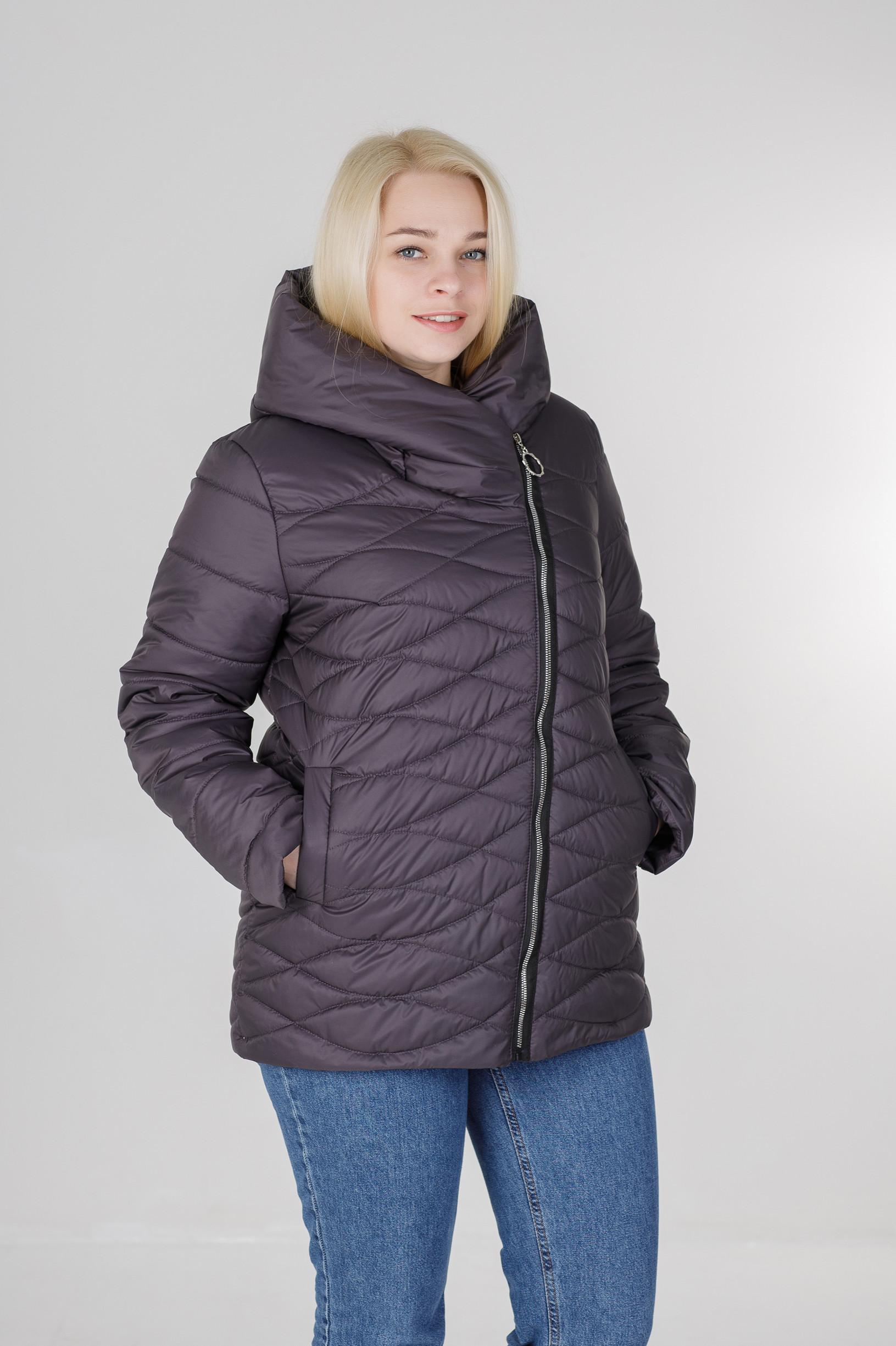 Ассиметричная весенняя женская куртка Надин графит