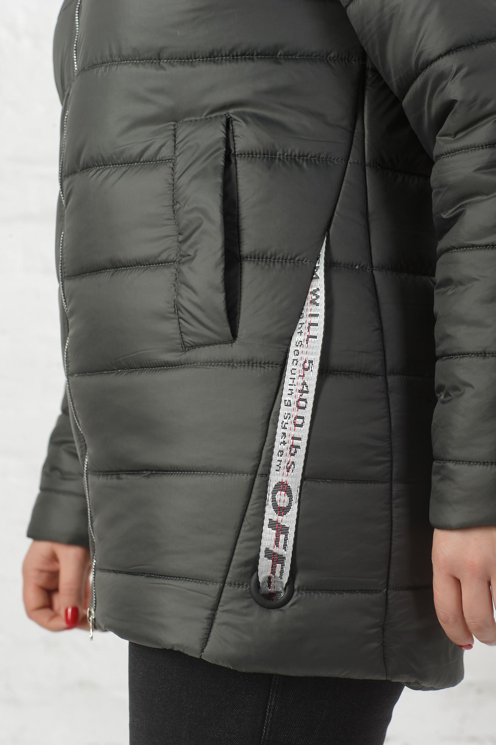 Женская утеплённая демисезонная оливковая куртка Ирен