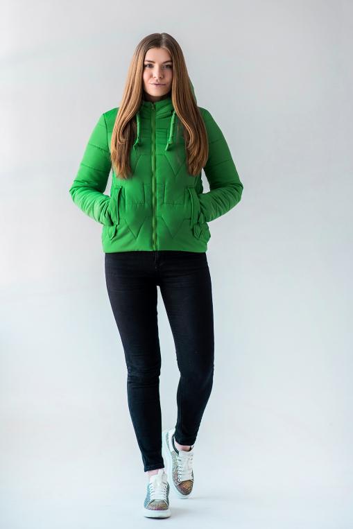Молодёжная женская демисезонная куртка Дебби зелёного цвета