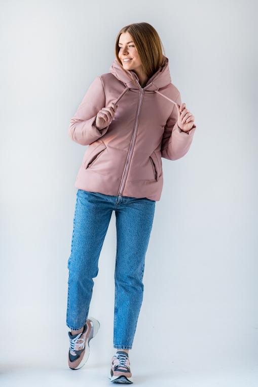 Полуспортивная розовая куртка из эко-кожи для девушки Тутси