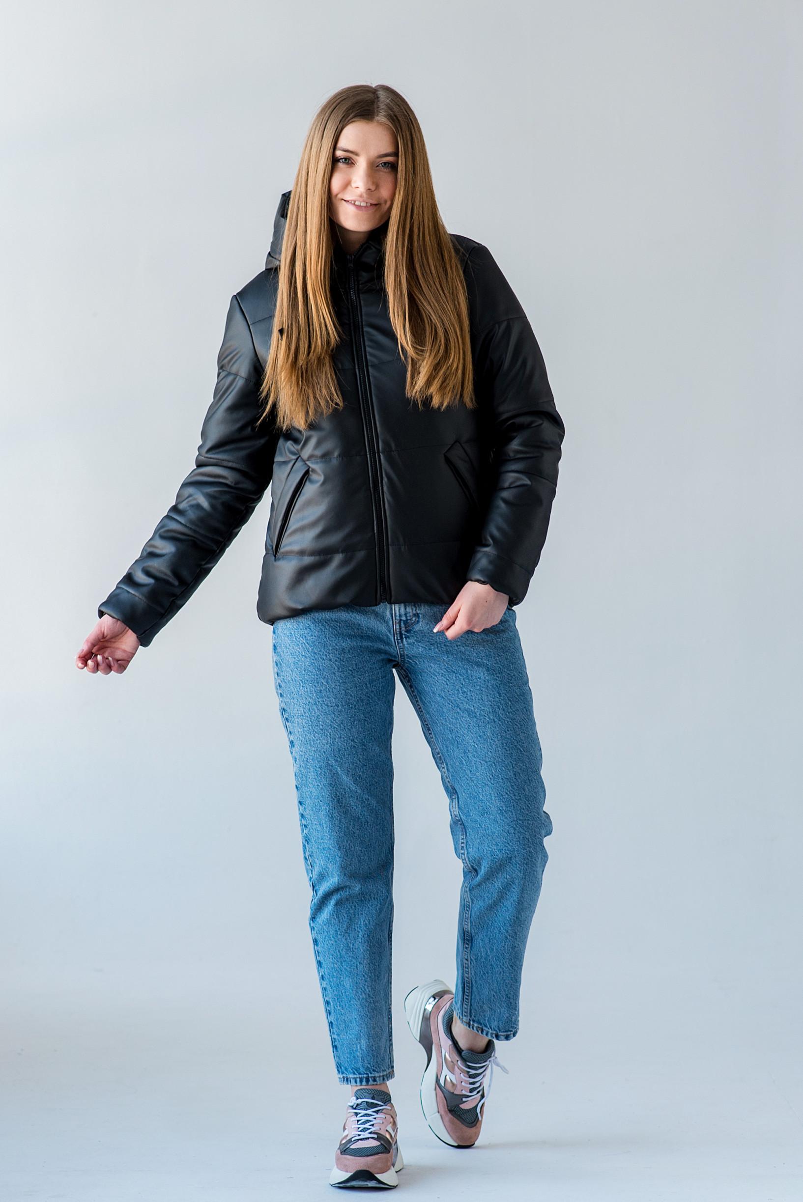 Полуспортивная демисезонная куртка Тутси из эко-кожи чёрная