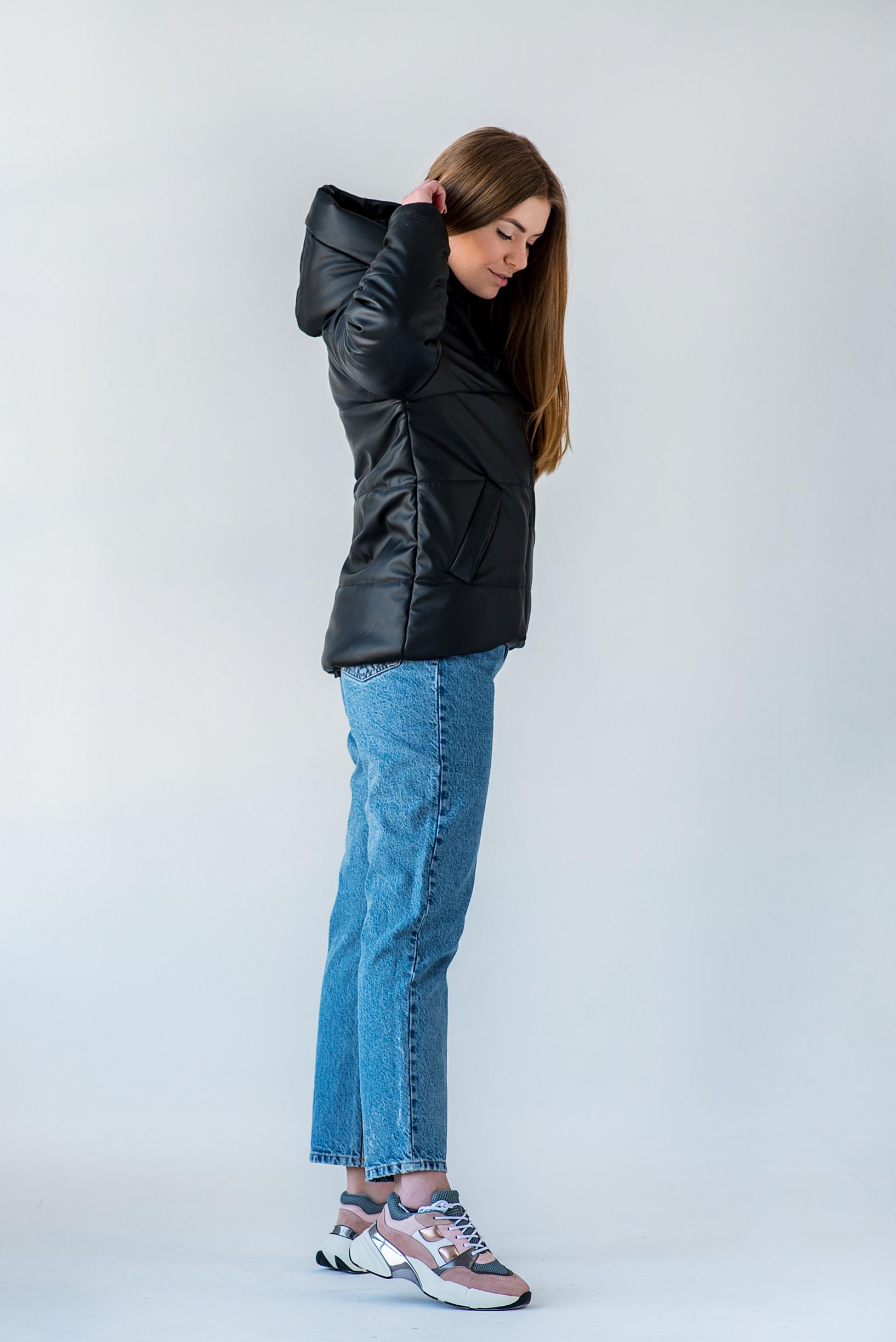 Чёрная куртка из эко-кожи для девушки Франки