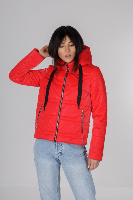 Весення укороченная красная куртка Лия бархат