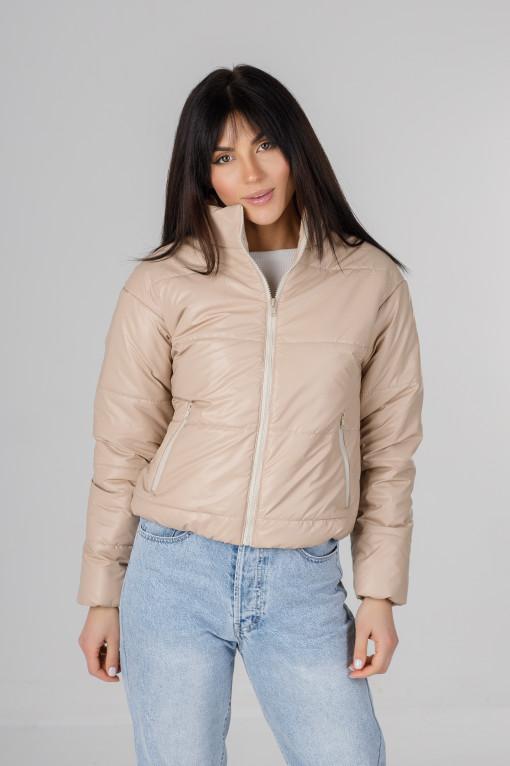 Стильная бежевая куртка из эко-кожи Харви