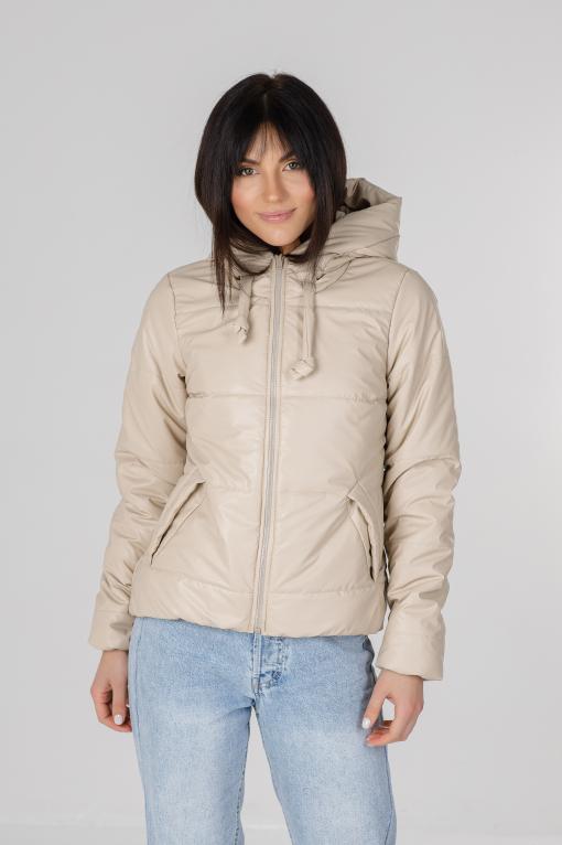 Молочная куртка из эко-кожи для девушки Франки