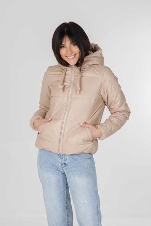 Бежевая куртка из эко-кожи для девушки Франки