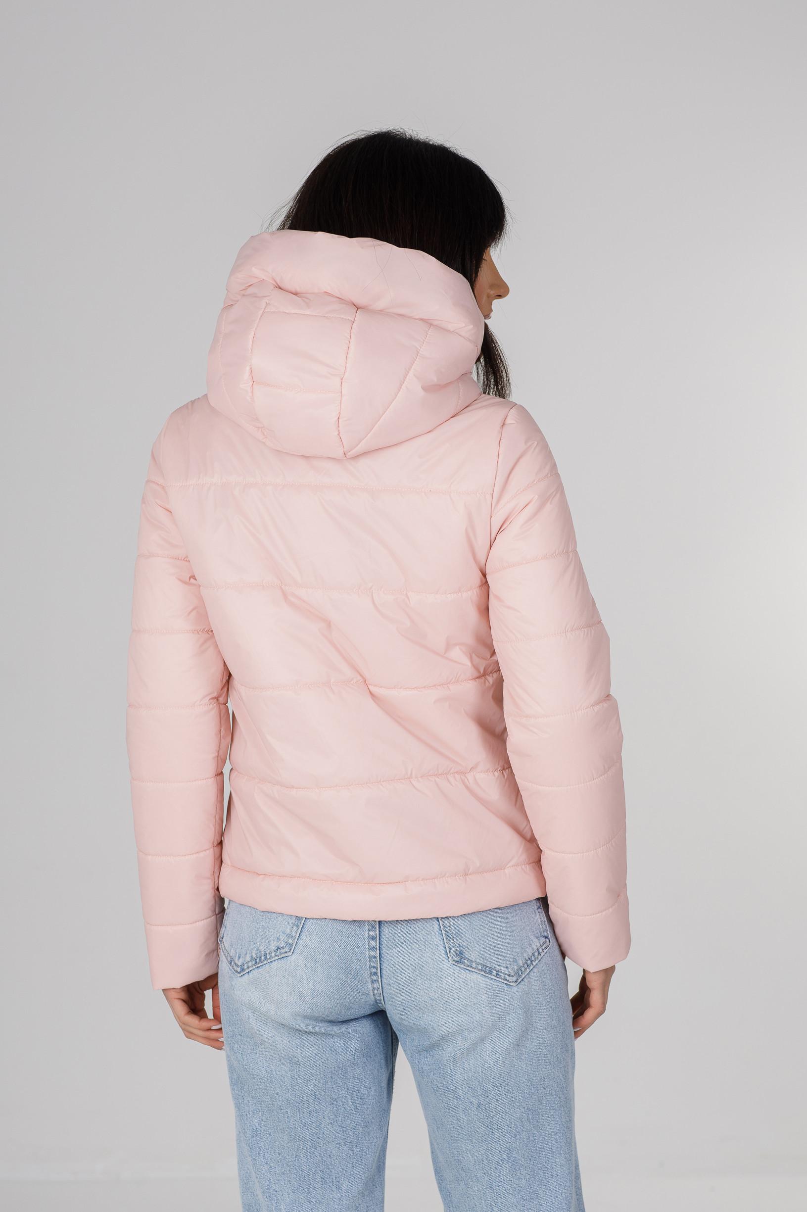 Демисезонная укороченная нежно розовая куртка Лия