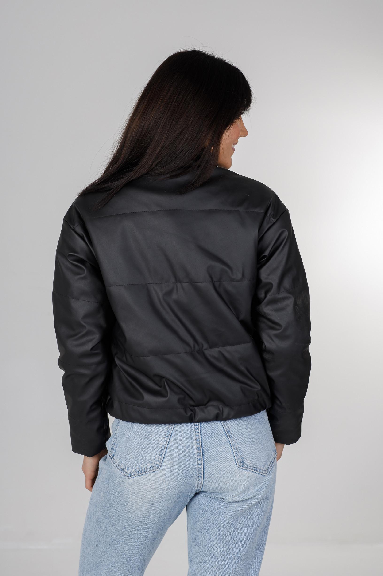 Стильная чёрная куртка из эко-кожи Харви