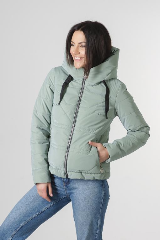 Демисезонная укороченная мятная куртка Лия бархат