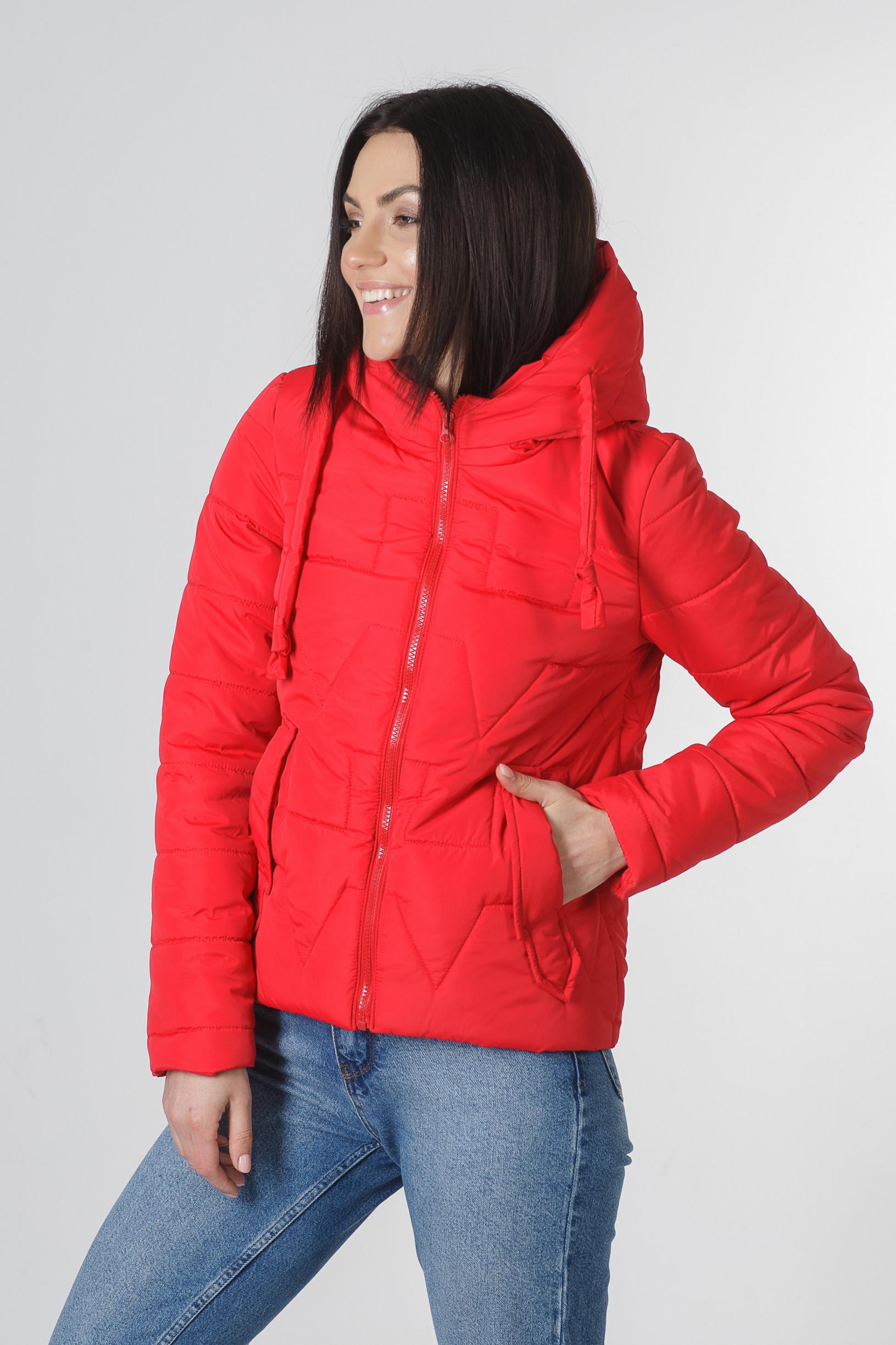 Молодёжная женская демисезонная куртка Дебби красного цвета