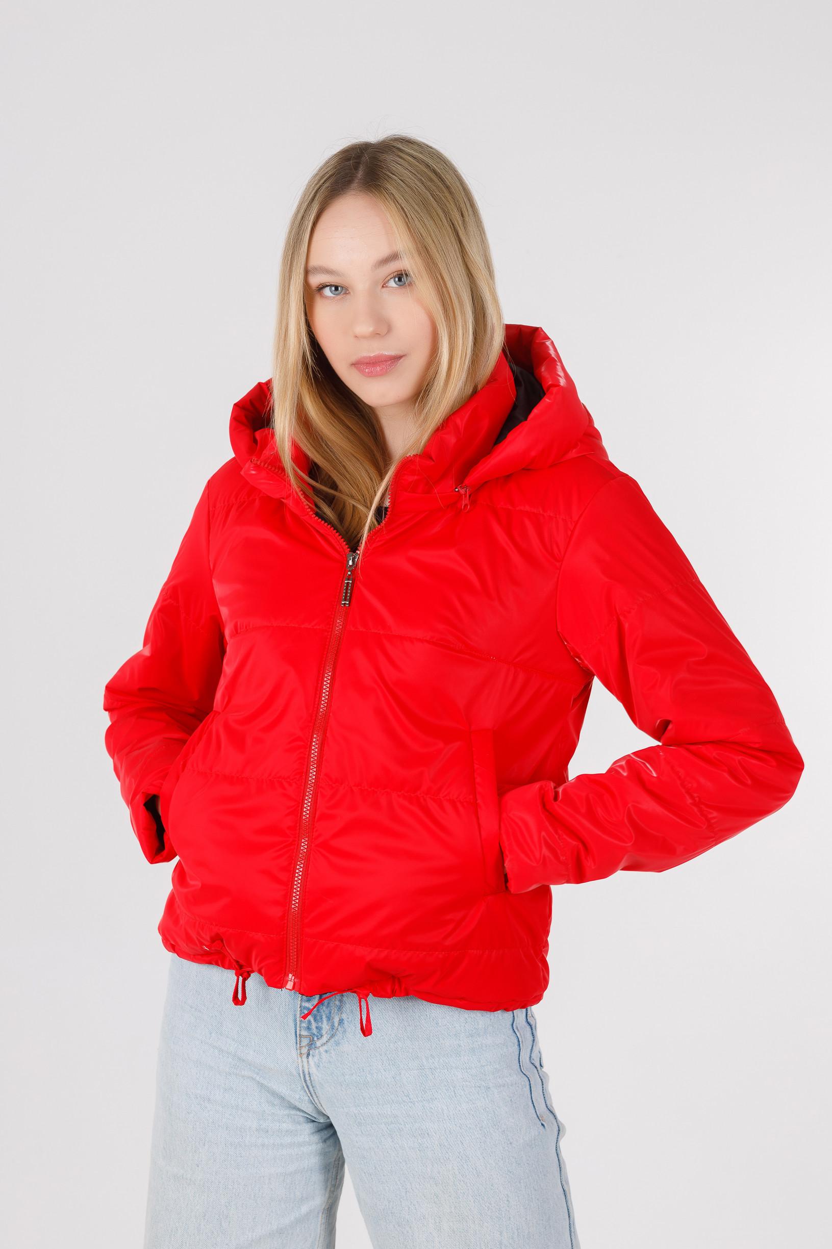 Весенняя полуспортивная красная укороченная куртка из велюровой ткани Триша