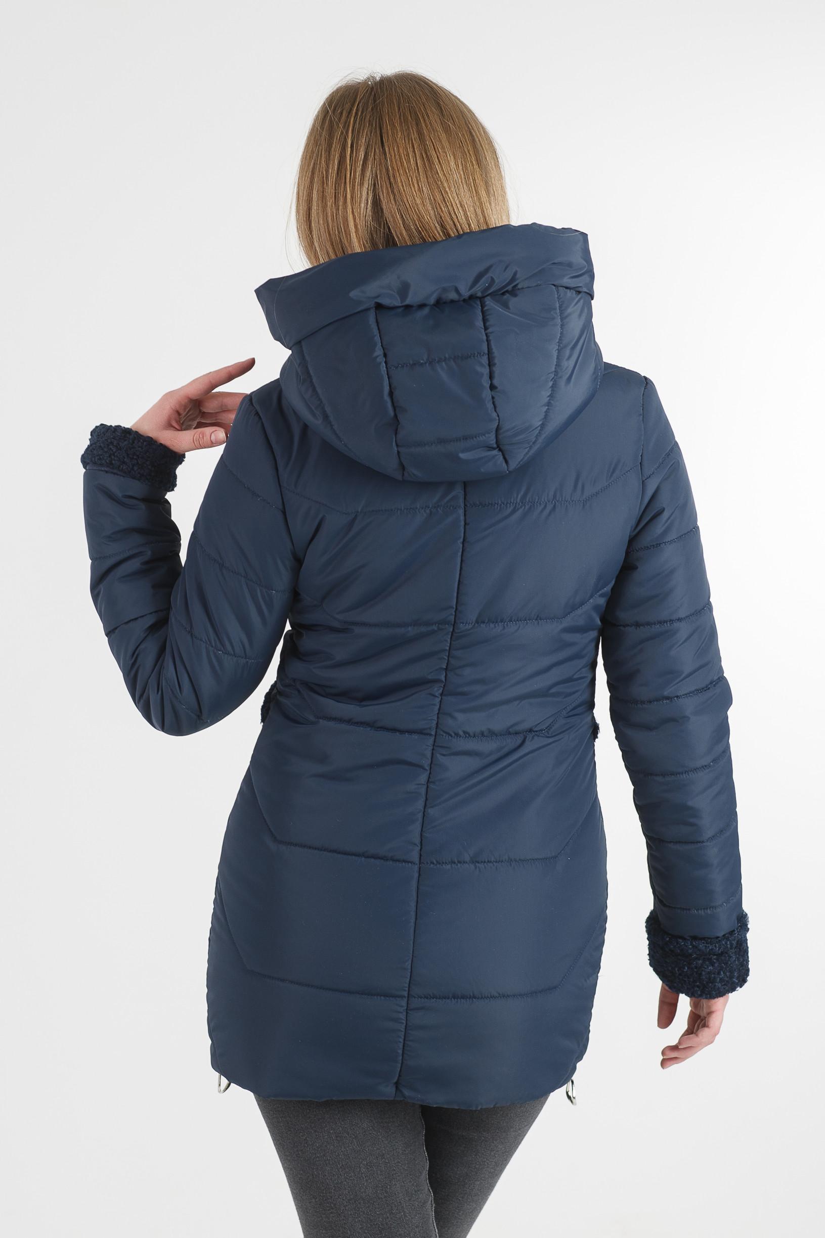 Тёплая демисезонная удлинённая синяя куртка Фокси
