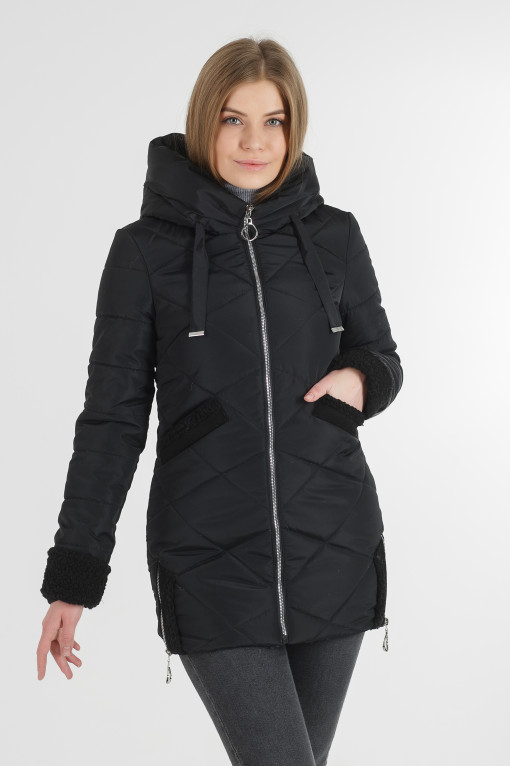 Тёплая осенняя удлинённая чёрная куртка Фокси