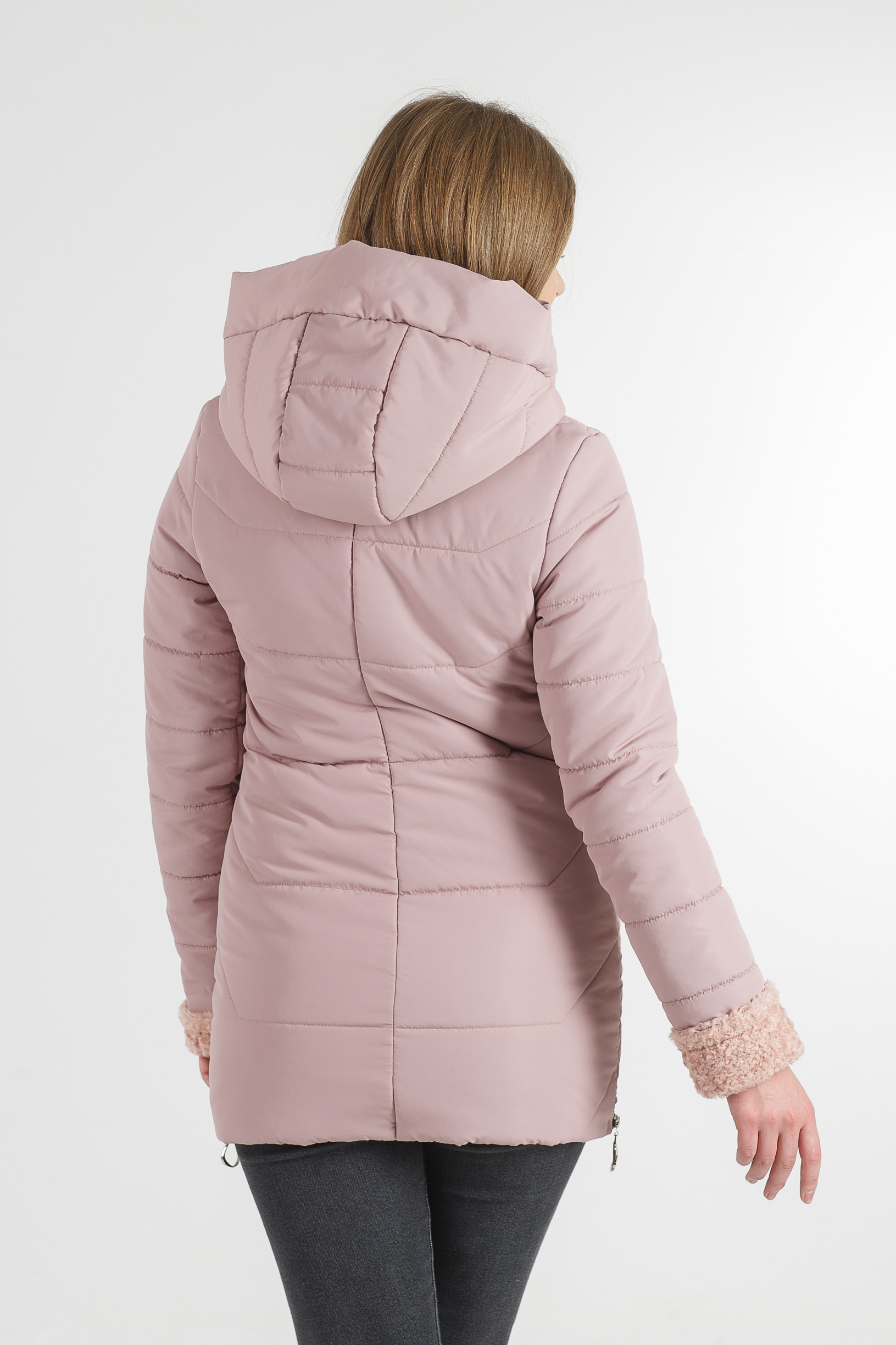 Тёплая весенняя удлинённая розовая куртка Фокси