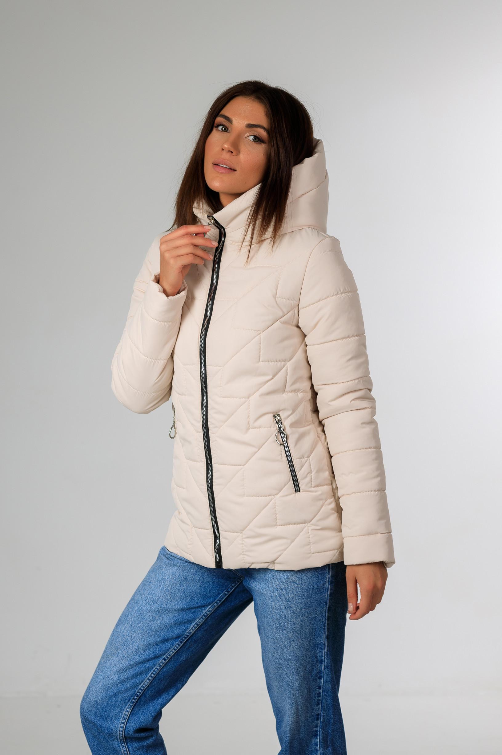 Демисезонная женская удлинённая куртка Руби молочного цвета
