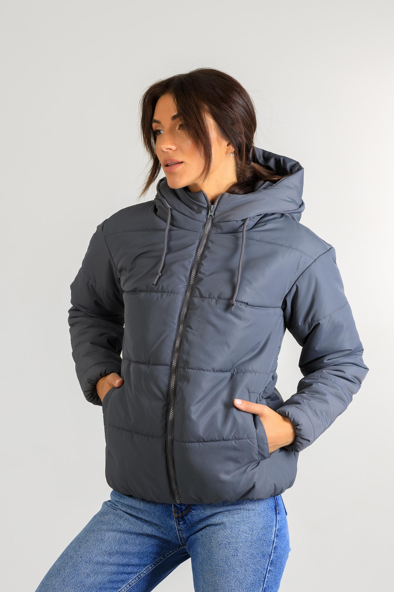 Демисезонная женская стильная куртка Тахо серого цвета